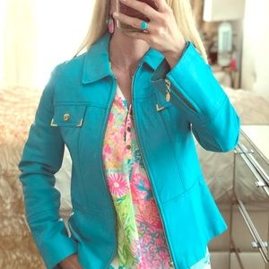 $850 St. John Teal Turquoise Spring Summer Leather